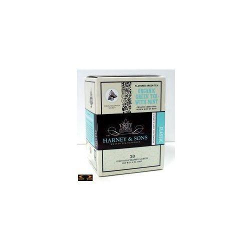 Herbata Harney & Sons Organic Green with Mint, kartonik piramidki 20 szt.