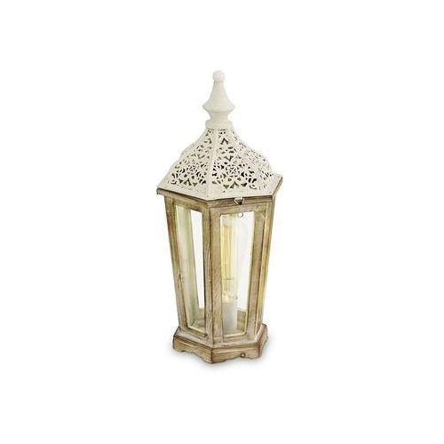 Stojąca lampka stołowa kinghorn 49278  metalowa oprawa latarnia biała marki Eglo