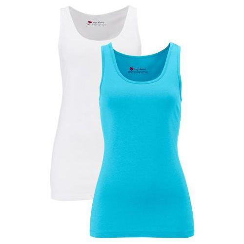 Top ze stretchem (2 szt. w opak.) bonprix lekki niebieski + biały