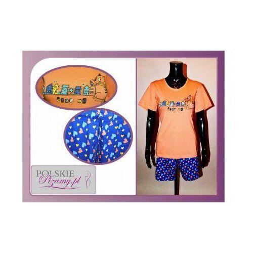 Piżama damska KICIA: pomarańcza, kolor pomarańczowy
