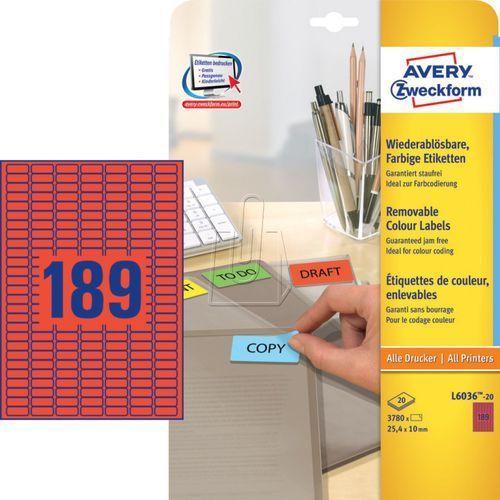 Avery zweckform Etykiety kolorowe usuwalne  czerwone 25,4 x 10mm 20 ark./op. l603