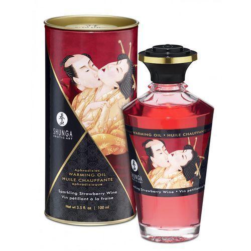 Shunga Aphrodisiac Oil Sparkling Strawberry Wine olejek do masażu 100 ml, 8408305