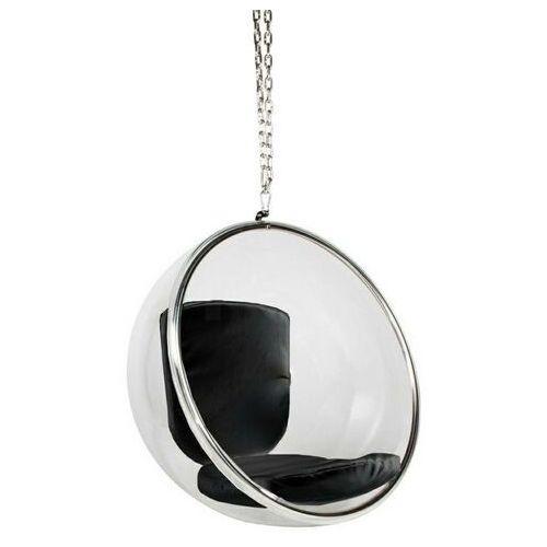 Fotel wiszący bubble poduszka czarna - korpus akryl, poduszka ekoskóra marki Sofa.pl