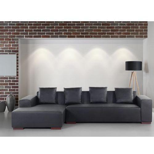 Sofa narożna R – głęboka czerń - skórzana – drewniane nóżki - narożnik - LUNGO