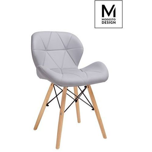 MODESTO krzesło KLIPP szare - ekoskóra, podstawa bukowa, kolor szary
