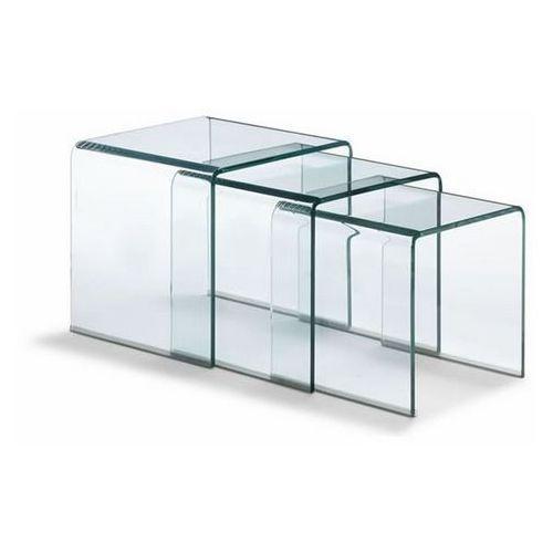 Zestaw stolików szklanych PRIAM TRIO transparentny - szkło transparentne (5900168809079)