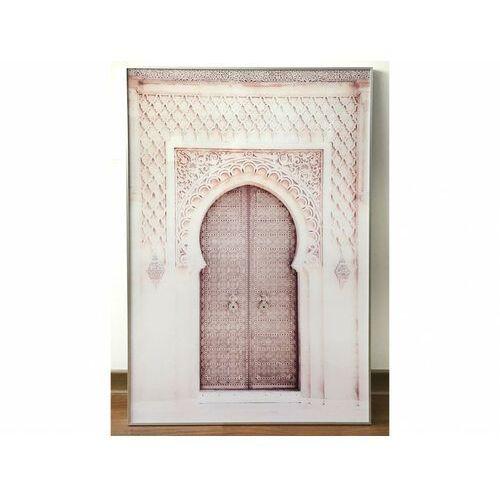 Obraz drukowany w ramie door – 80 × 120 × 2,5 cm (dł. × szer. × wys.) – kolor różowy i beżowy marki Vente-unique