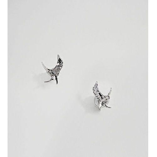 Bill Skinner Sterling Silver Swallow Stud Earrings - Silver, kolor szary
