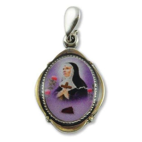 Srebrny medalik św. Rity z pobłogosławioną różą