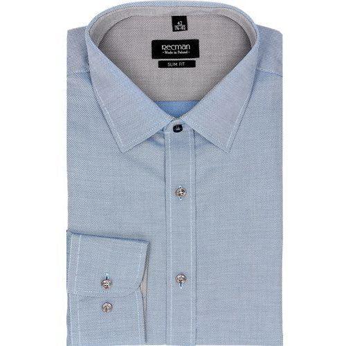 Koszula bexley 2452 długi rękaw slim fit niebieski marki Recman