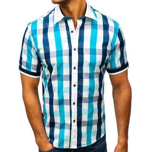 Koszula męska elegancka w kratę z krótkim rękawem turkusowa 8901, Bolf