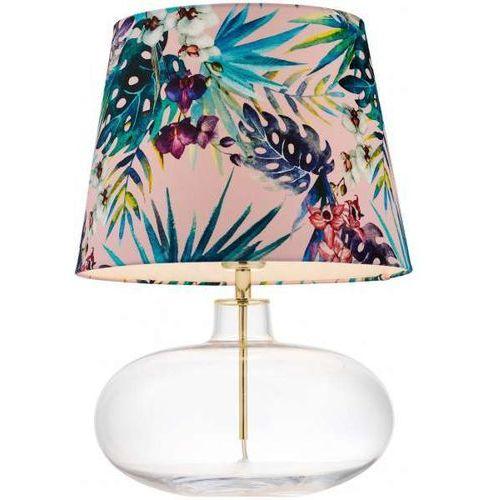 Stojąca LAMPA stołowa FERIA 40910116 Kaspa biurkowa LAMPKA abażurowa z motywem roślinnym złote przezroczysta różowa (1000000568066)