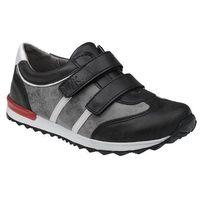 Sneakersy półbuty 4912 czarne+szary na rzepy - czarny ||popielaty marki Kornecki