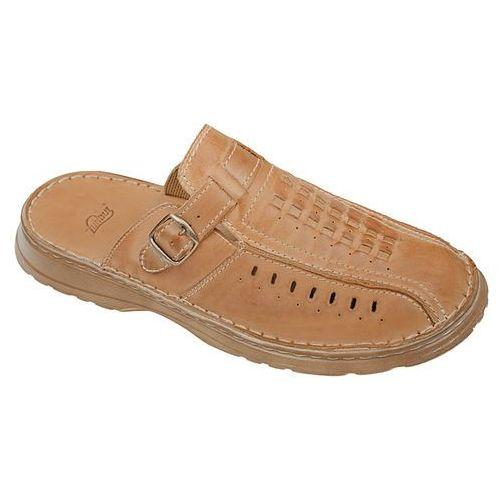 Łukbut Klapki buty 954 beżowe - beżowy   brązowy