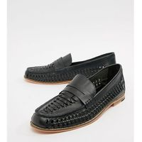 Frank wright wide fit woven loafers in navy leather - navy
