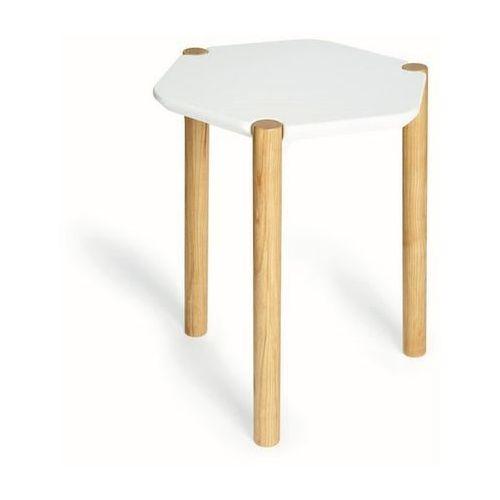 Umbra - stolik lexy - biały/drewno naturalne - jasne