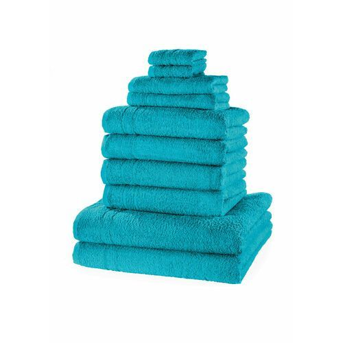 Komplet ręczników (10 części) niebieskozielony morski marki Bonprix