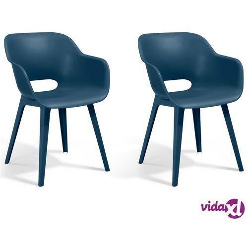 Allibert krzesła ogrodowe akola, 2 szt., kolor głęboki morski (8711245146805)