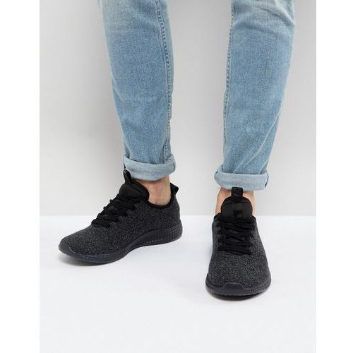 knitted trainers in black - black, River island
