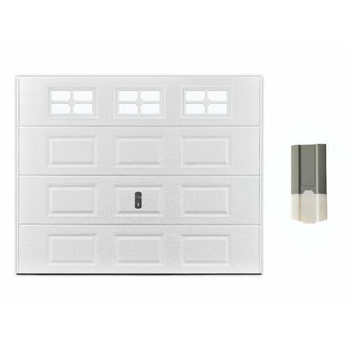 Zestaw brama garażowa segmentowa z kasetonami speos z okienkami + napęd eco line marki Vente-unique