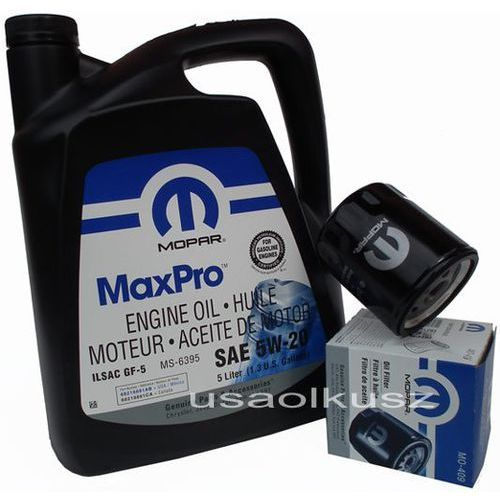 Oryginalny filtr oleju oraz olej 5w20 jeep wrangler 3,8 v6 marki Mopar