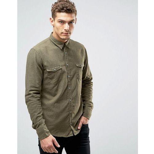 by hugo boss edoslime slim shirt flannel melange - green marki Boss orange