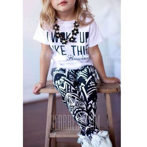 Gearbest Casual short sleeve letter pattern t-shirt + printed pants twinset for girl