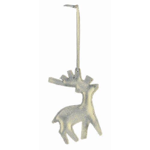 Philippi - ozdoba choinkowa ze skóry - renifer - srebrno-złoty