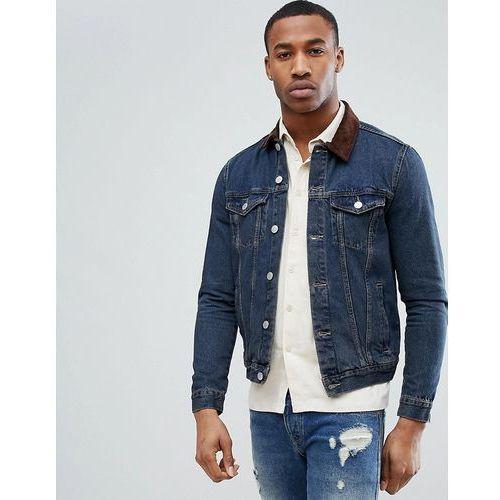 denim jacket with corduroy collar in mid wash - blue marki New look