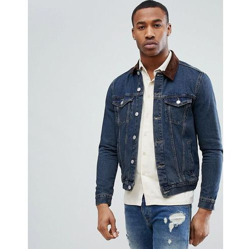 New Look Denim Jacket With Corduroy Collar In Mid Wash - Blue