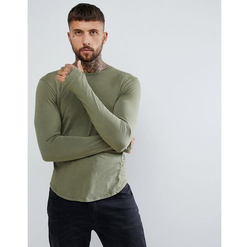 muscle fit long sleeve t-shirt in khaki with drop hem - green, Religion, S-L