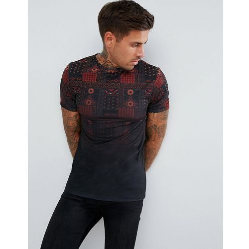 River Island Muscle Fit T-Shirt With Fade Aztec Print In Black - Black, kolor czarny