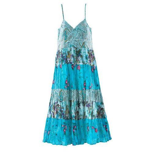 Sukienka bonprix turkusowy z nadrukiem