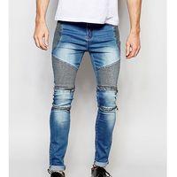 skinny zip biker jeans in stonewash blue - blue marki Liquor n poker
