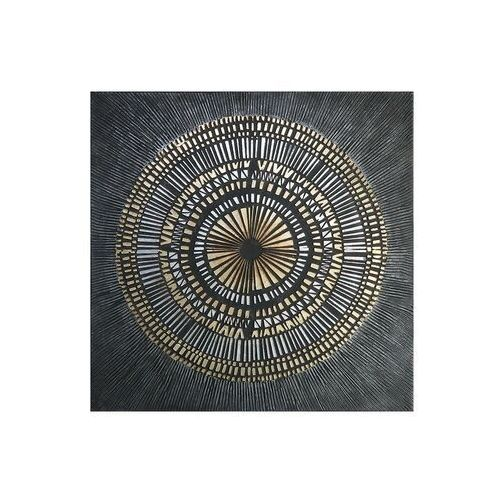 Obraz olejny riad - konstrukcja z drewna sosnowego - 100x100 cm - kolor czarny i złoty marki Vente-unique.pl