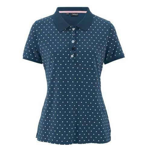 """Bonprix Shirt polo """"pique"""", w kropki ciemnoniebiesko-biały w kropki"""