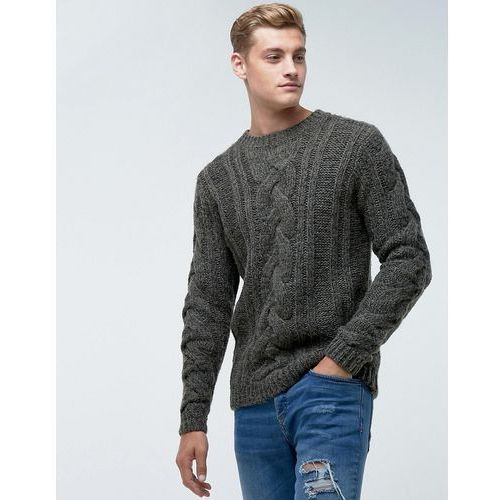 jumper in cable knit in grey - green, Bellfield