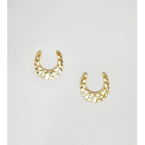 ASOS DESIGN gold plated sterling silver stud earrings in horse shoe design - Gold