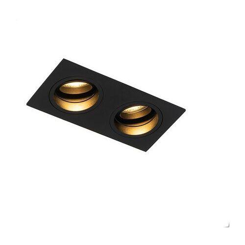 Qazqa Inteligentna, wpuszczana czarna prostokątna regulacja, w tym 2 wifi gu10 - chuck