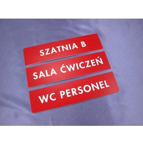 Tabliczki trzyczęściowe na drzwi lub ścianę - czerwone - wym. 20x5cm marki Grawernia.pl - grawerowanie i wycinanie laserem