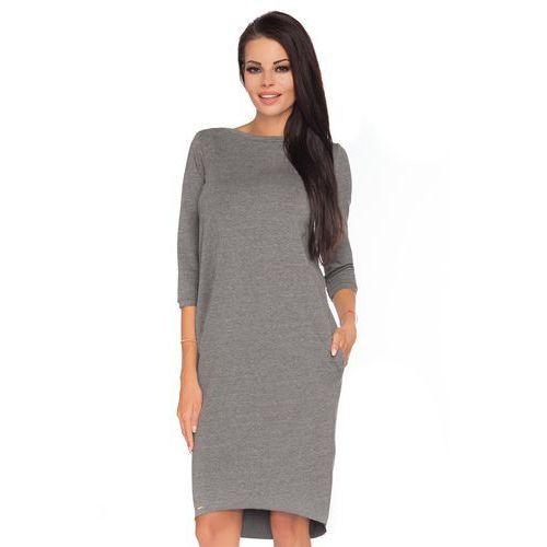 Szara dzianinowa stylowa sukienka z wiązaniem na karku marki Tessita