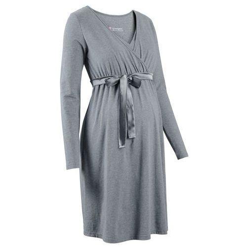 Sukienka ciążowa i do karmienia szary melanż marki Bonprix