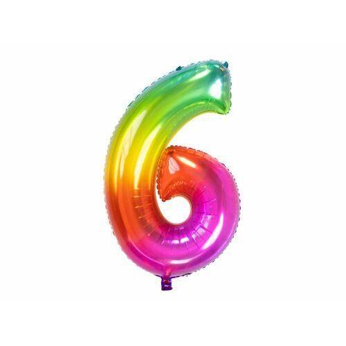 Balon foliowy cyfra 6 tęczowy - 86 cm - 1 szt.
