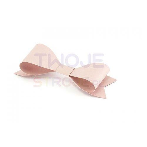 Dekoracje papierowe kokardki pudrowy róż 8x 2.6 cm