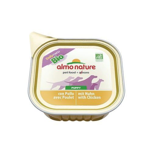 daily menu bio dog puppy kurczak i mleko - szalka 100g marki Almo nature