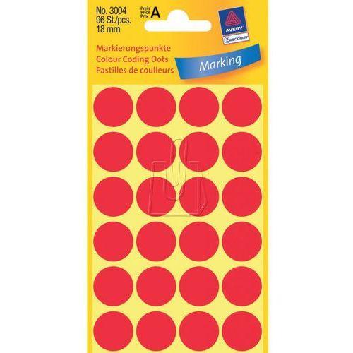 Etykiety czerwone kółka do zaznaczania 18mm Avery Zweckform 3004, 43518