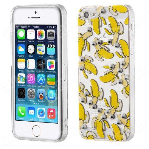 Żelowy pokrowiec etui oczy googly eyes iphone se 5s 5 banany przezroczysty - banany wyprodukowany przez Hurtel