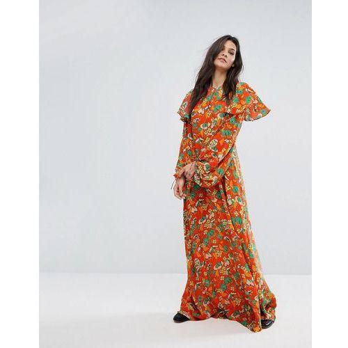 Mango Bold Floral Print Maxi Dress - Orange