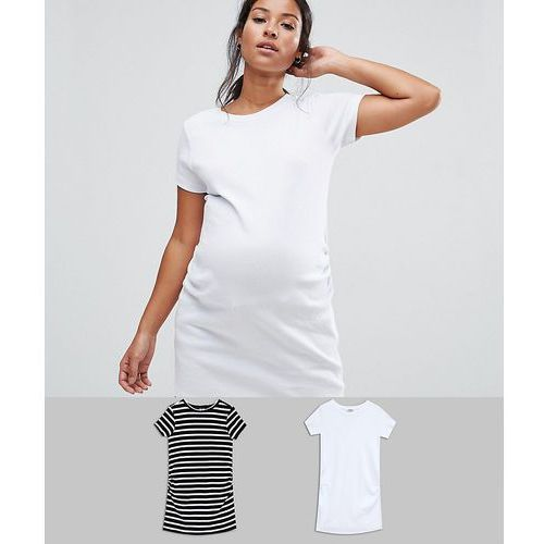 ASOS Maternity Crew Neck Tunic With Capped Sleeve in Plain and Stripe 2 Pack - Black