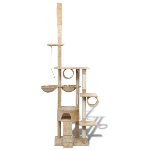 vidaXL Drapak dla kota 220 - 240 cm, 1 domek, beżowy